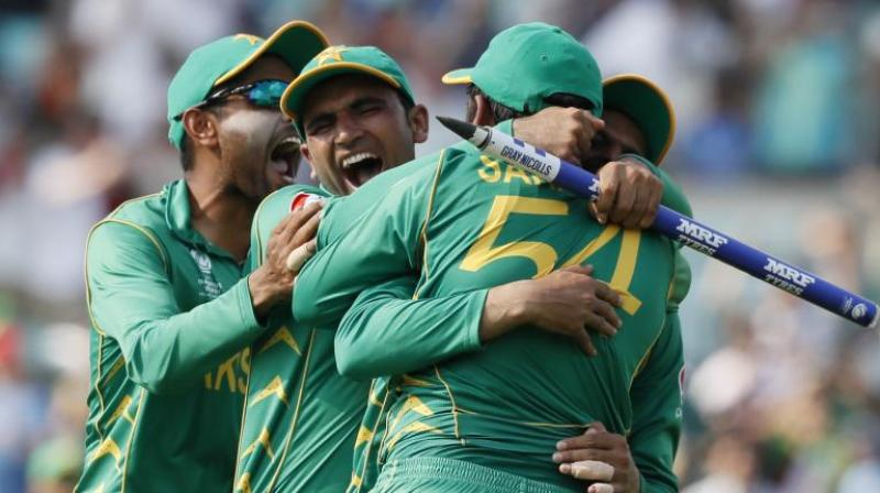 Pakistan team after their victory on Sunday. (Photo: AP)