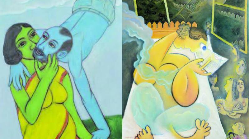 Subrata Mete's 'Kiss' and Amrita Ghosh's 'Dream Ladder'