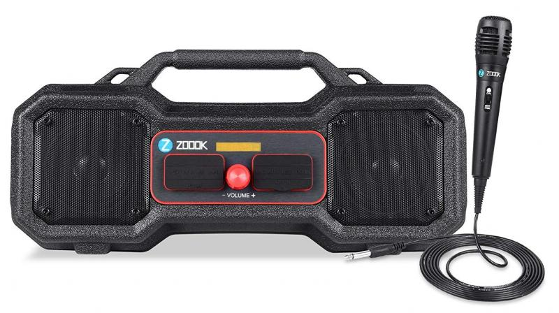 The compact boombox comes with sturdy handle on top and weighs about 800 grams making it a portable device to make outdoor parties special.