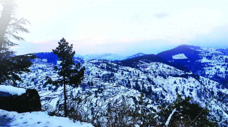 First glimps of the snowy peaks as we neared Chail.(Photo: Radhika Vashisht)