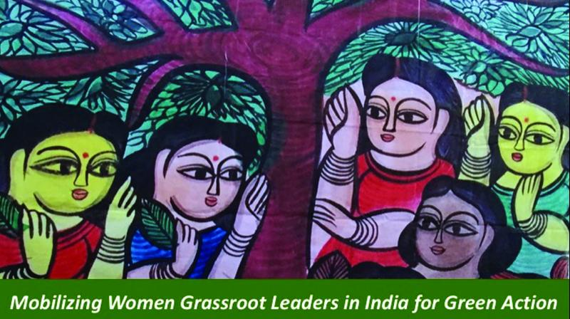 A painting representing the role of women in planting trees.