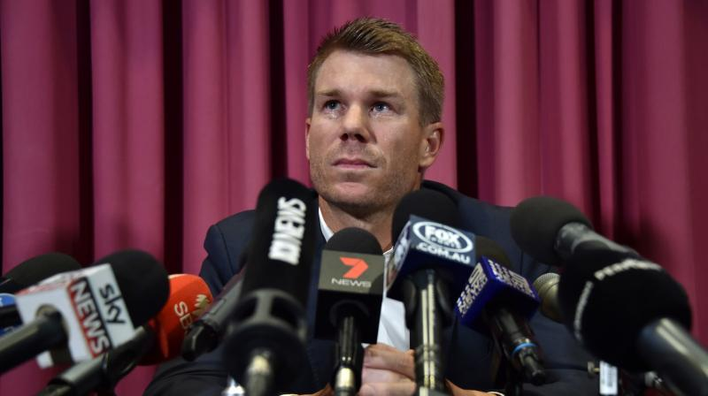 David Warner struggled to fight back the tears as he read a prepared statement in which he said his actions had been inexcusable. (Photo: AFP)