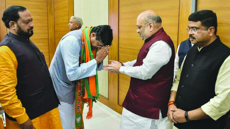 A file photo of BJP president Amit Shah with newly-inducted Odisha leader Baijayant Jay Panda.