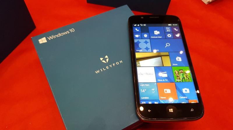 The Wileyfox Pro with windows 10 Mobile will be available only to B2B customers for use as company phones.(photo: Ben Wood,CCS Insight analyst )