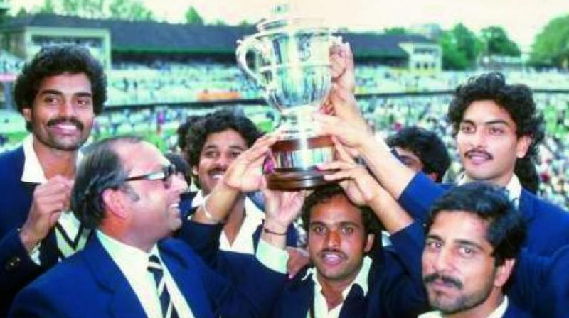 The Indian cricket team in 1983 with the World Cup.