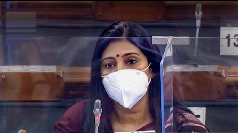 The monsoon session of Parliament began on Monday with MPs wearing masks and seated behind glass partitions. This is Apna Dal (Sonelal) MP Anupriya Patel in the Lok Sabha. (PTI)