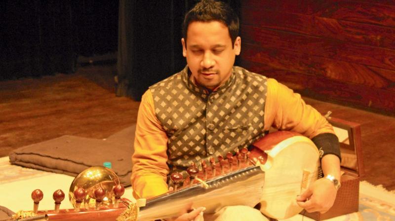 Shiraz Ali Khan performs in New Delhi on Sunday.