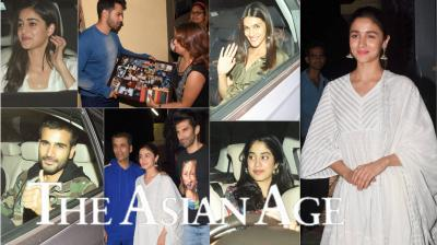 On Tuesday, Bollywood celebrities like Karan Johar, Kriti Sanon, Janhvi Kapoor, Ananya Panday, Karan Tacker, Neha Dhupia and others attended special screening of Varun Dhawan, Alia Bhatt, Aditya Roy Kapur, Sonakshi Sinha, Sanjay Dutt and Madhuri Dixit-Nene starrer Kalank. (Photos: Viral Bhayani)