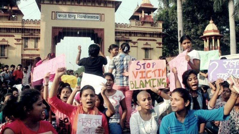 The Banaras Hindu University students protest near the university's main gate. (Photo: PTI/File)
