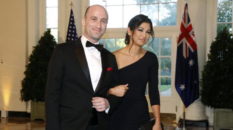 President Donald Trump's White House Senior Adviser Stephen Miller (left) and Katie Miller. (AP)