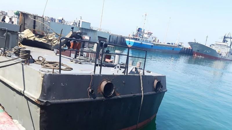 The Konarak support vessel which was struck during a training exercise in the Gulf of Oman, is docked in an unidentified naval base in Iran.(Photo provided by the Iranian Army)