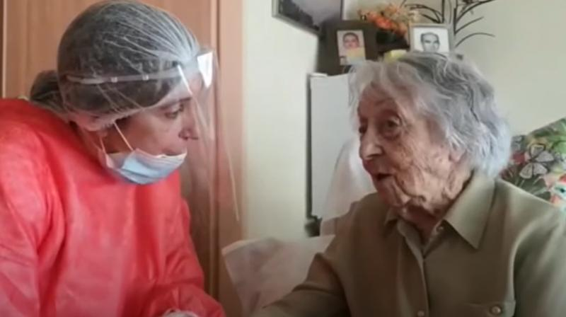 Maria Branyas fought the respiratory illness off in isolation in her room at a care home. (Screengrab of Youtube video)