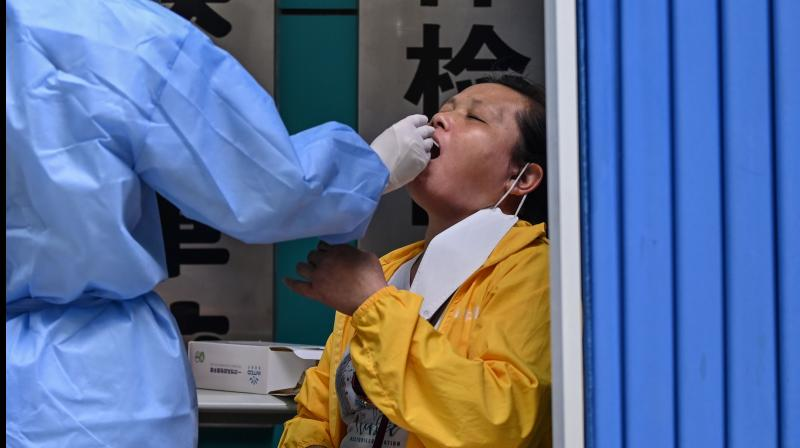 A medical worker takes a swab sample from a woman to be tested for the COVID-19 novel coronavirus in Wuhan. (AFP)