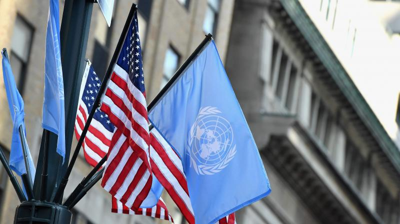 Flags of the United Nations and the United States of America are seen in New York City. (AFP)