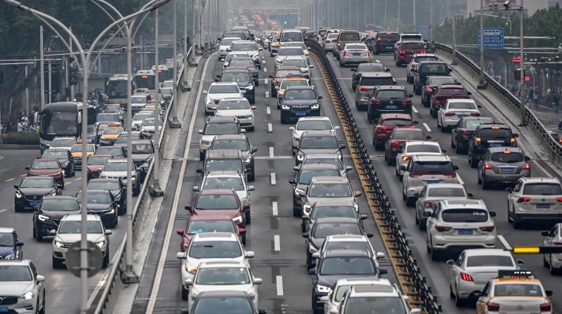 Traffic congestion is seen on a road in Wuhan, in China's central Hubei province. (AFP)