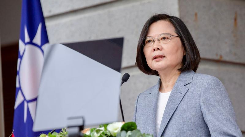 Taiwan's President Tsai Ing-wen speaking at the Taipei Guest House as part of her inauguration for her second term as in office, in Taipei. (AFP)