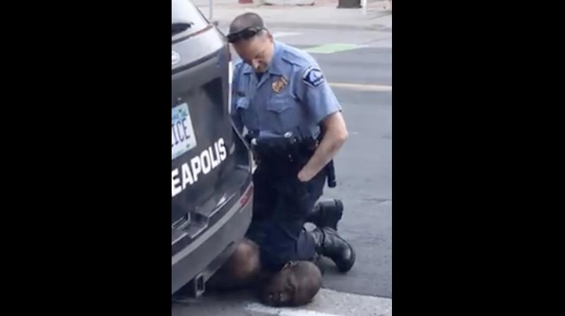 Frame from video provided by Darnella Frazier, a Minneapolis officer kneels on the neck of a handcuffed man who was pleading that he could not breathe in Minneapolis.
