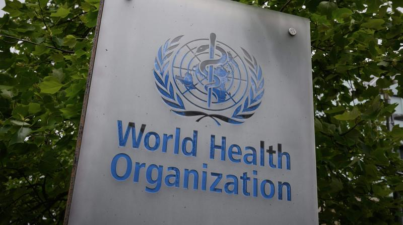 World Health Organization (WHO) sign in Geneva next to their headquarters. (AFP)