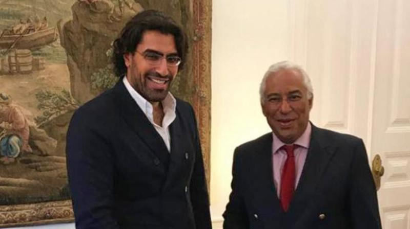 A picture made available on May 30, 2020, by a friend of Saudi Prince Salman bin Abdulaziz shows him (left) with Portugal's Prime Minister Antonio Costa in the capital Lisbon in 2017. (AFP)