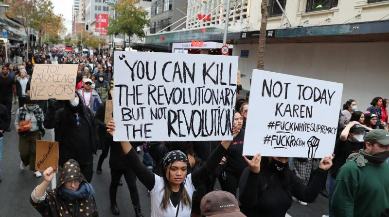 Some 4,000 New Zealand protesters demonstrate against the killing of Minneapolis man George Floyd in a Black Lives Matter protest in Auckland. (AFP)