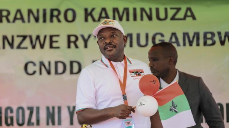 President Pierre Nkurunziza after Ndayishimiye was chosen as the party's presidential candidate at a national conference for the ruling CNDD-FDD party in the rural province of Gitega, Burundi. (AP)