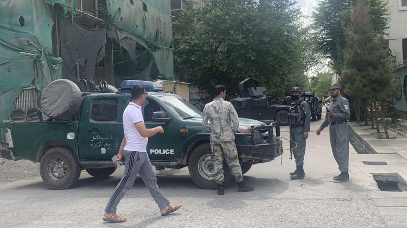 Police block off a road near the site of a bomb attack, Friday, June 12, 2020, in Kabul. (AP)