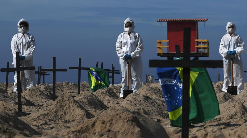 Activists from the Brazilian NGO Rio de Paz (Peace Rio), stand next to 100 mock graves on Copacabana beach symbolizing deaths from the COVID-19 coronavirus in Rio de Janeiro, Brazil. (AFP)