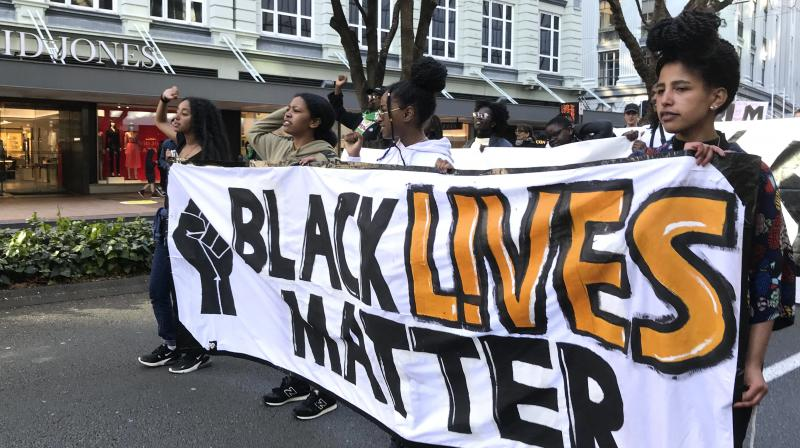 Protesters chant during a Black Lives Matter protest in central Wellington, New Zealand, Sunday June, 14, 2020. (AP)