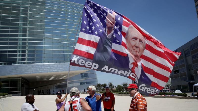 A group of Trump supporters outside the BOK Center in Tulsa, Oklahoma. (AFP)