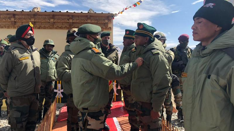 Indian Army chief MM Naravane interacting with soldiers at forward posts in Ladakh.