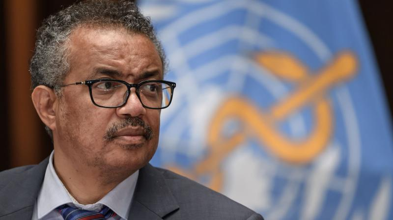 World Health Organization (WHO) Director-General Tedros Adhanom Ghebreyesus attends a press conference organised by the Geneva Association of United Nations Correspondents (ACANU) amid the COVID-19 outbreak, caused by the novel coronavirus, on July 3, 2020 at the WHO headquarters in Geneva.(AFP)