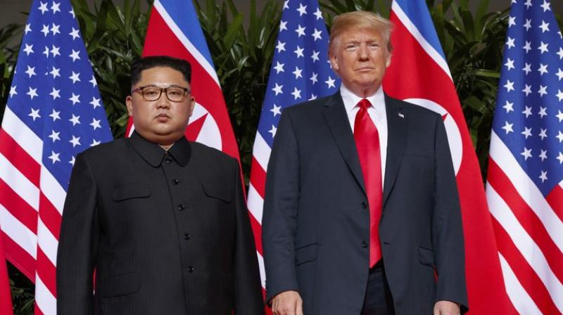 In this June 12, 2018, file photo, U.S. President Donald Trump, right, meets with North Korean leader Kim Jong Un on Sentosa Island, in Singapore. (AP)