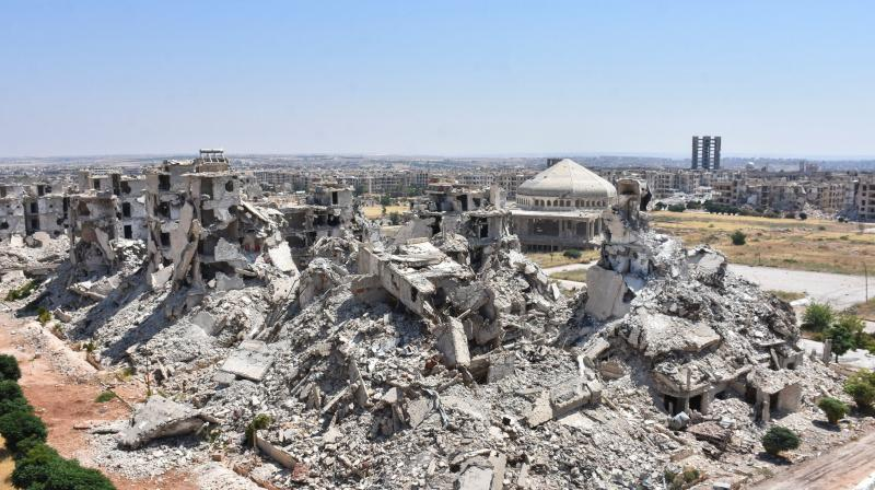 A general view shows al-Zahraa neighbourhood of Aleppo destroyed following years of conflict in Syria. (AFP)