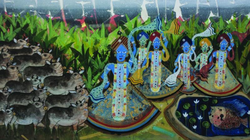 Painting of Krishna by artist Ashok Hazra