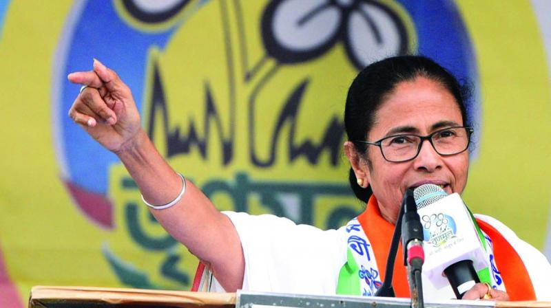 Chief minister Mamata Banerjee addressing an election rally at Churavander in Jalpaiguri district on Sunday. (Photo: Asian age)