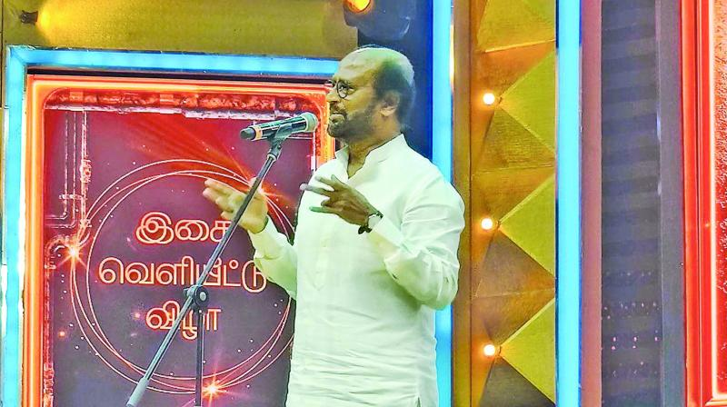 Rajinkanth during the Darbar audio launch
