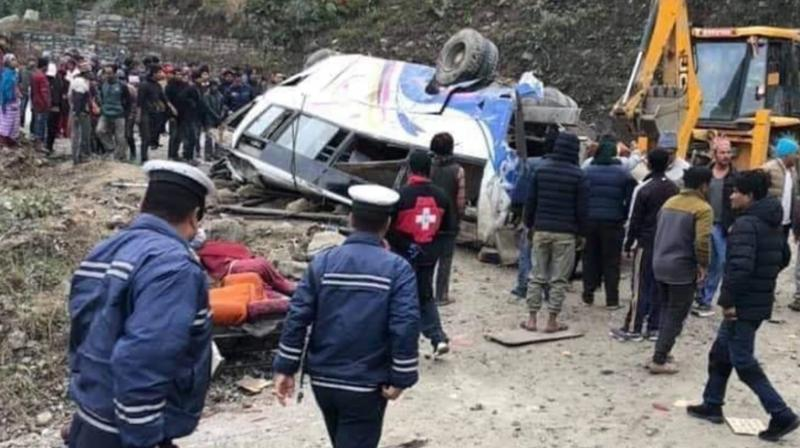 The pilgrims were returning home after visiting the famed Hindu Kalinchowk Bhagwati temple when the bus veered off the highway about 80 kilometers (50 miles) east of the capital, Kathmandu, police official Prajwal Maharjan said. (Photo: ANI)