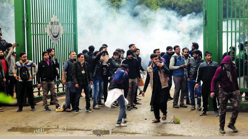 This man stood his ground the other day against a baton-wielding policeman at the Jamia Millia students' protest In Delhi.