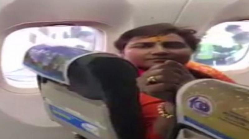 An argument broke out between BJP MP Pragya Thakur and other people on board over the allotment of the seat during a Delhi to Bhopal Spicejet flight recently. (Photo: ANI)