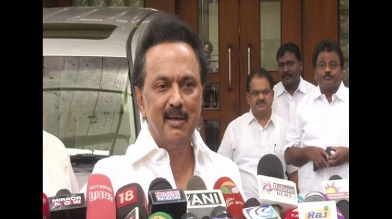A DMK delegation led by Stalin met Tamil Nadu State Election Commissioner R Palaniswamy to complain about the results not being declared at some constituencies. (Photo: ANI)