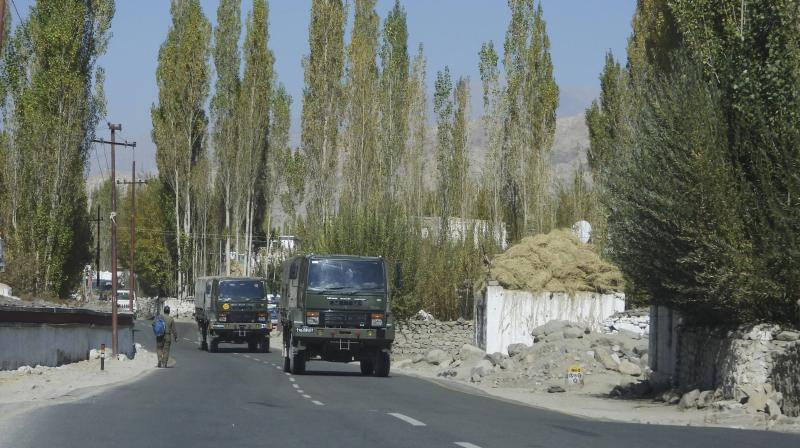 Army vehicles move towards eastern Ladakh amid the prolonged India-China stand off, in Leh. (PTI)