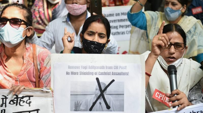 Members of Left parties during a protest against the UP government over the death of a 19-year-old Dalit woman after being allegedly gang-raped in Hathras, at Jantar Mantar in New Delhi, Thursday, Oct. 15, 2020. (PTI)