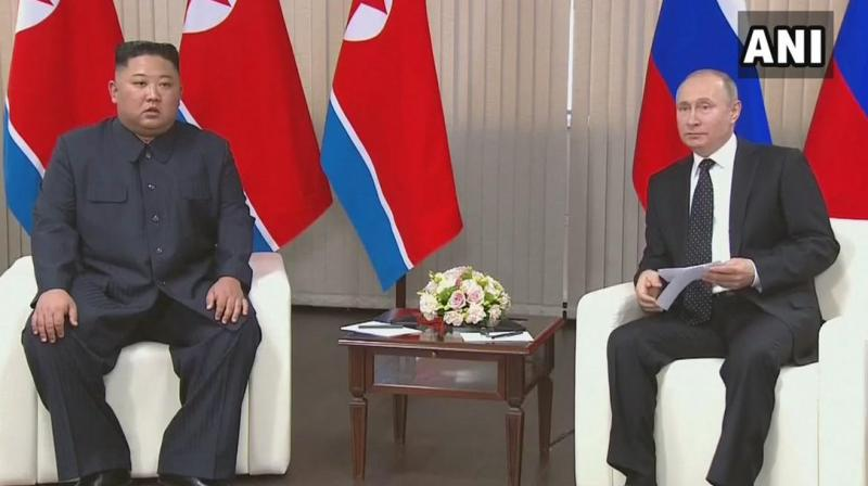 'I am confident that your visit today to Russia ... will help us to better understand how we can resolve the situation on the Korean peninsula and what Russia can do to support the positive processes that are currently taking place,' Putin said as the two began their first-ever talks in Russia's Far East. (Photo: ANI   Twitter)