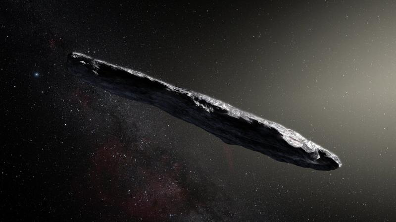 This artist's impression shows the first interstellar asteroid: `Oumuamua. This unique object was discovered on 19 October 2017 by the Pan-STARRS 1 telescope in Hawai`i. Subsequent observations from ESO's Very Large Telescope in Chile and other observatories around the world show that it was travelling through space for millions of years before its chance encounter with our star system. `Oumuamua seems to be a dark red highly-elongated metallic or rocky object, about 400 metres long, and is unlike anything normally found in the Solar System. (Photo: ESO/M. Kornmesser)