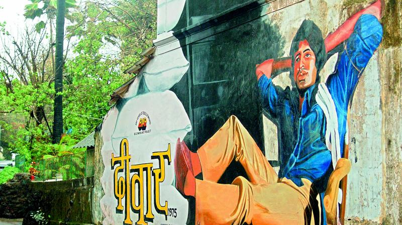 A mural from the 'Bollywood Art Project' in Bandra, Mumbai.