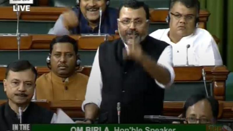 'Congress has made a government with Shiv Sena in Maharashtra. Shiv Sena called Nathuram Godse a patriot in 'Saamna',' Dubey said. (Photo: ANI)