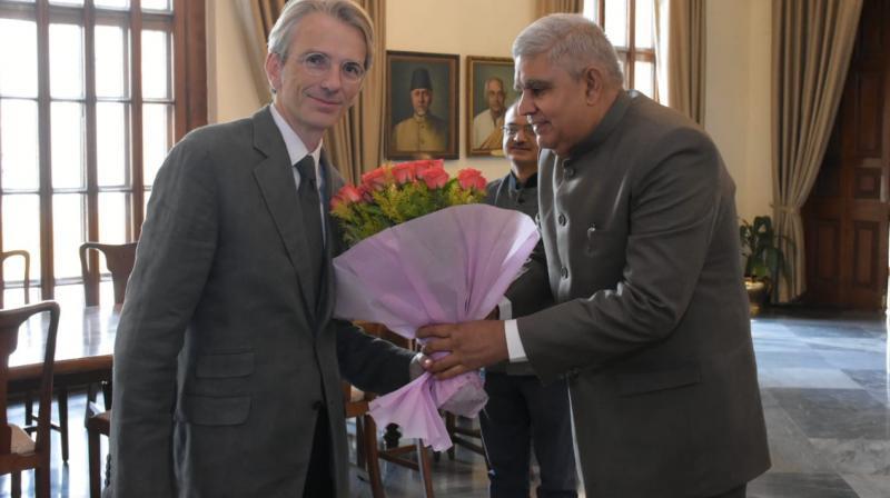 French Ambassador to India Emmanuel Lemain meets West Bengal Governor Jagdeep Dhankhar. (Photo: File)
