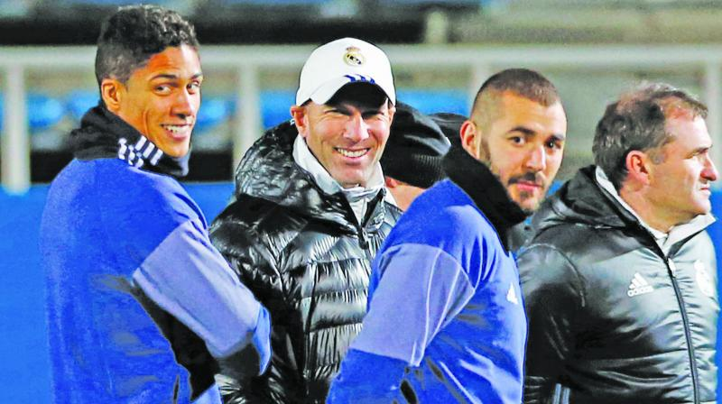 Zinedine Zidane at a Real Madrid training session.