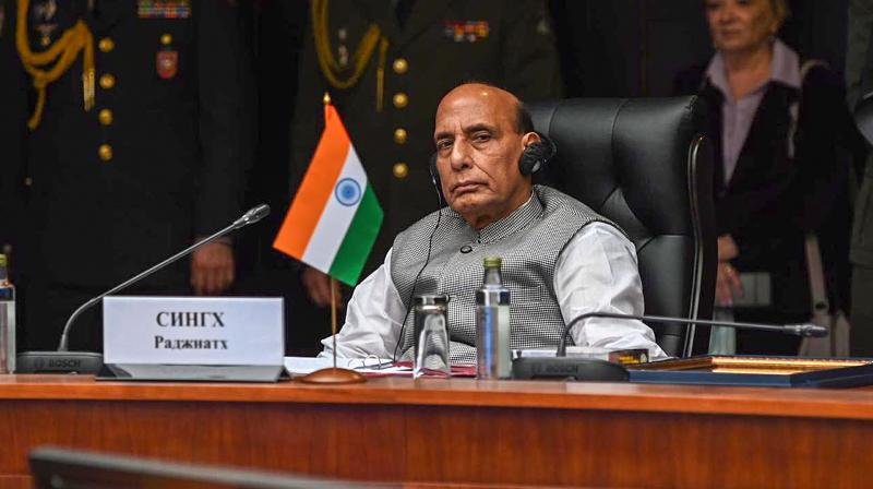 India's defence minister Rajnath Singh attends the joint meeting of the heads of defence ministers of the Shanghai Cooperation Organisation (SCO), Commonwealth of Independent States (CIS) and Collective Security Treaty Organisation (CSTO) members, in Moscow on Friday, Sept. 4, 2020. (PTI)