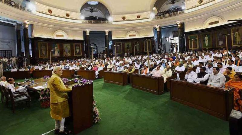 File photo of prime minister Narendra Modi addressing BJP MPs.